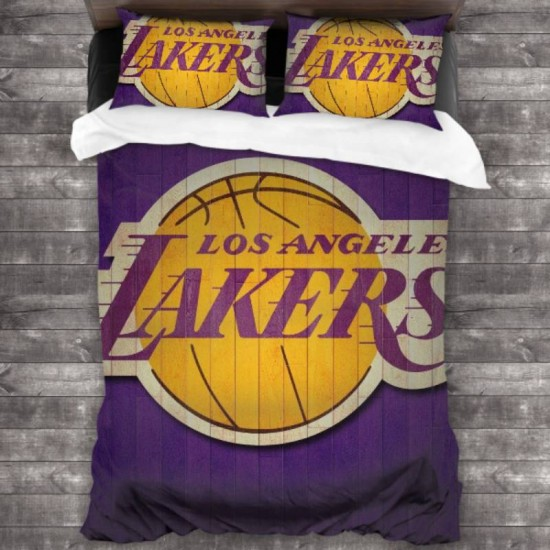 100% Washed Microfiber NBA Los Angeles Lakers 3-Piece Bedding Set 86